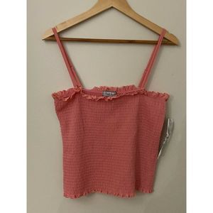 Almost Famous Coral Spaghetti Strap Smoked Top